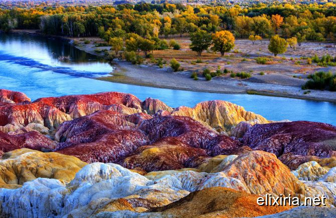 The Danxia landform is formed from red-coloured sa